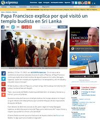 El Papa Francisco visita templo budista en Sri Lanka - ACI Prensa